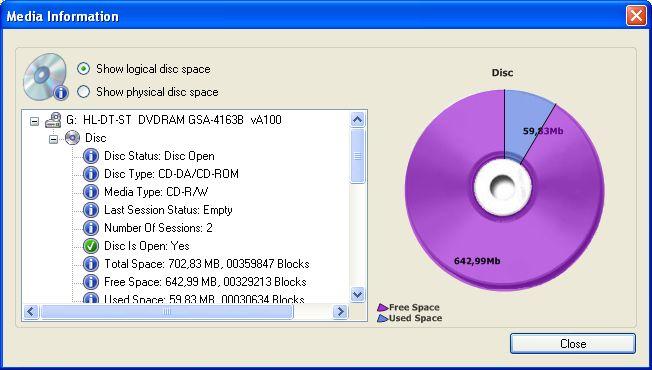 Запись дисков CD Burner 4.2.3